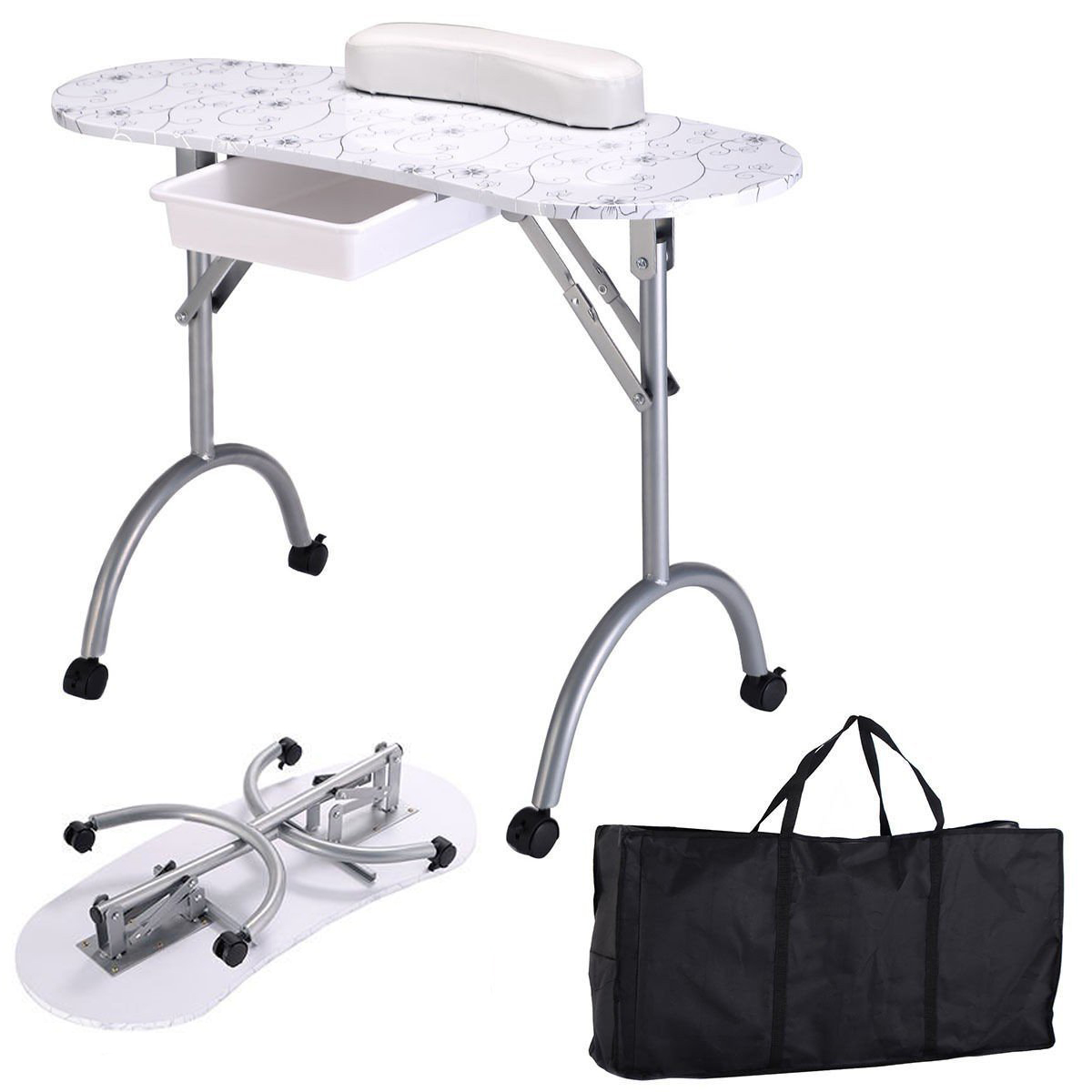 Fashion Pattern Removable Portable Folding Nail Table With Bag Stable & Durable Nail Tables With Movable Wheel Drawer MT-017F