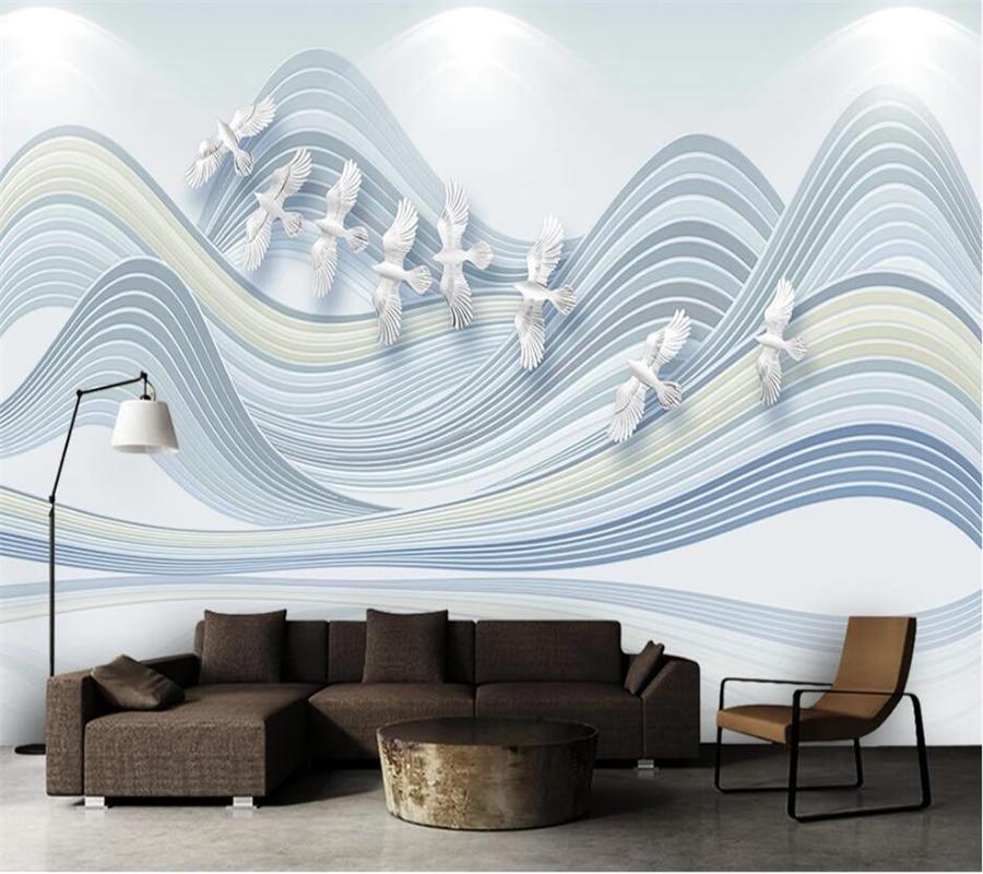 Wellyu Custom Wallpaper 3d Small Fresh Elegant Nordic Geometry Landscape Bird 5d Mural 8d Background Wall Papers Home Decor обои