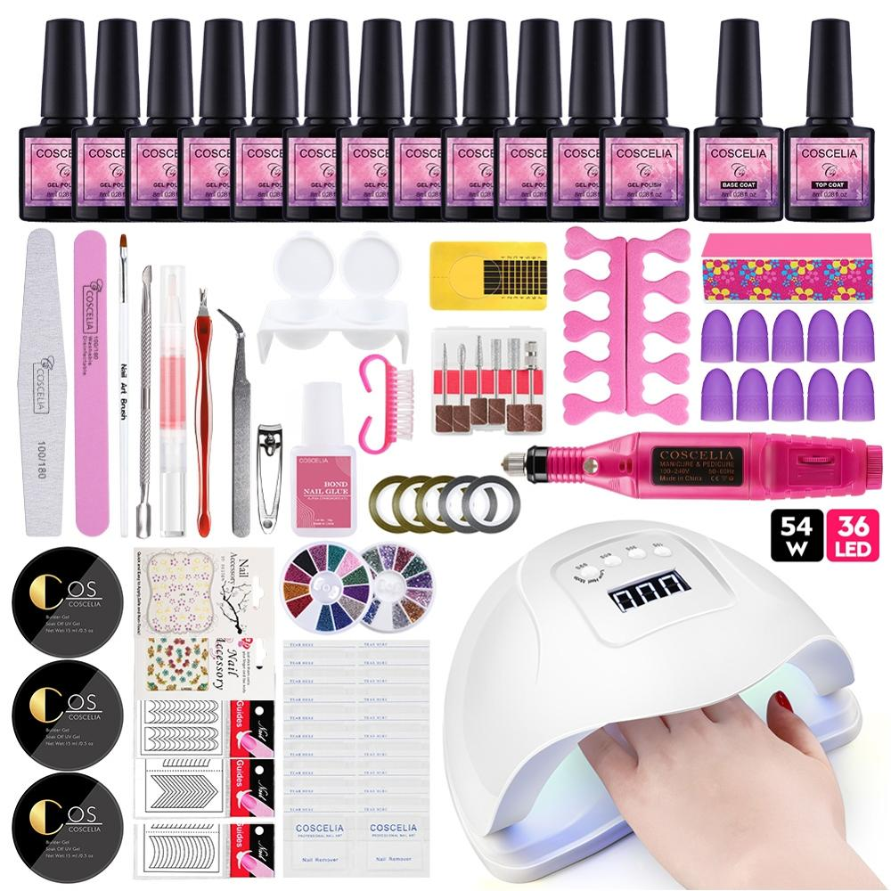 COSCELIA 54W UV LED Lamp Manicure Set 6/12 Color Gel Nail Polish Set Top Base Coat Manicure Tool Acrylic Nail Kit Nail Art