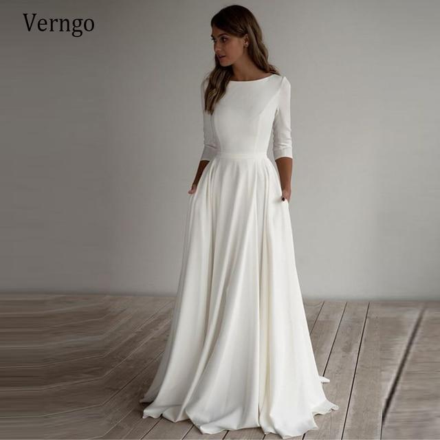 Verngo Simple Wedding Dress Long Sleeves A Line Crepe Boat Neck Elegant Bridal Dresses With Pockets Plus Size robe de mariee 1