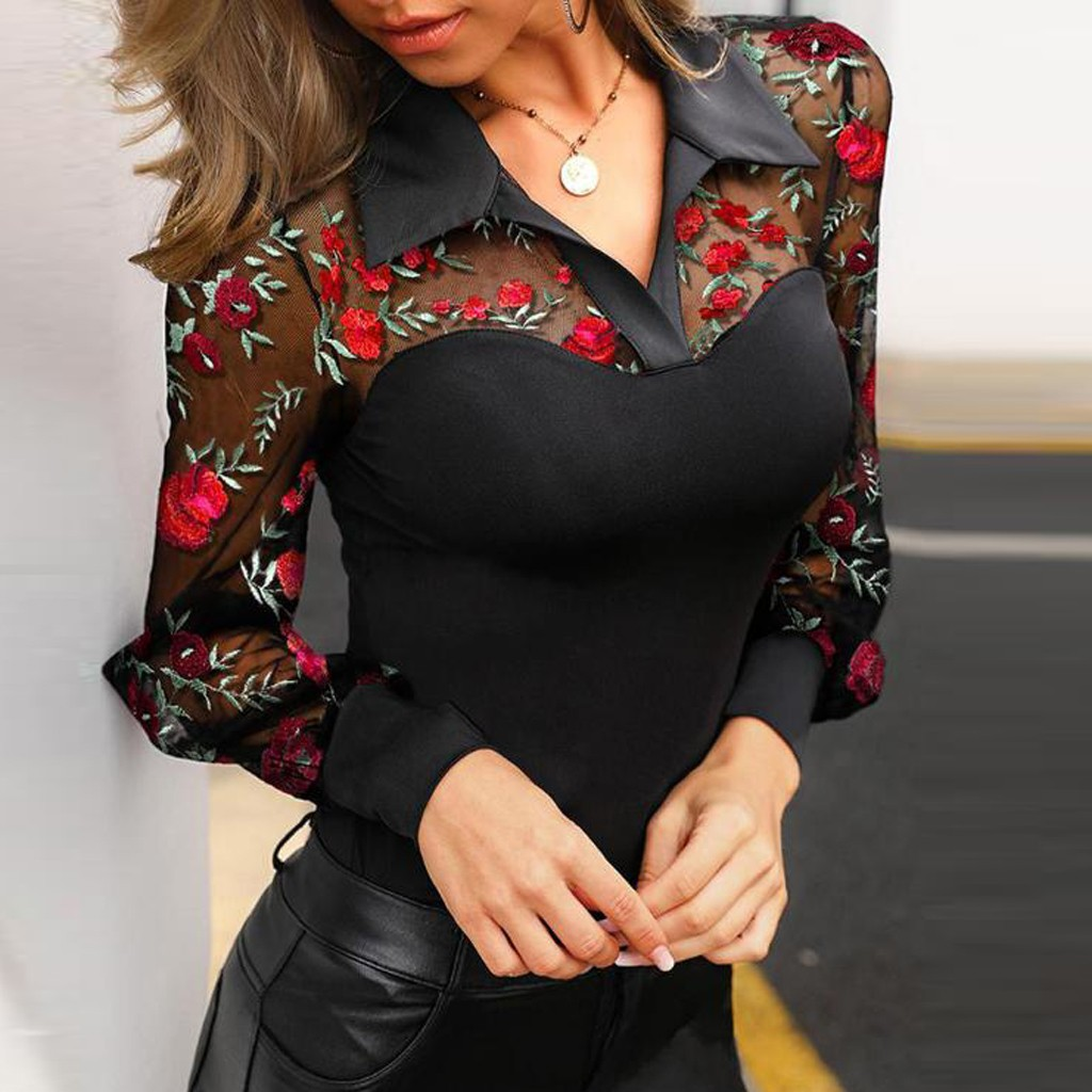 Feitong Blouse Women Vintage Floral Embroidery Sheer Mesh Stitching Lapel Long Sleeve Casual Women Blouses Shirt рубашка женская