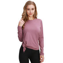 Vrouwen Yoga Top Lange Mouw Ademend Sneldrogend Yoga Shirt Elastische Losse Sportkleding Gym Fitness Workout Sport Top T shirt(China)