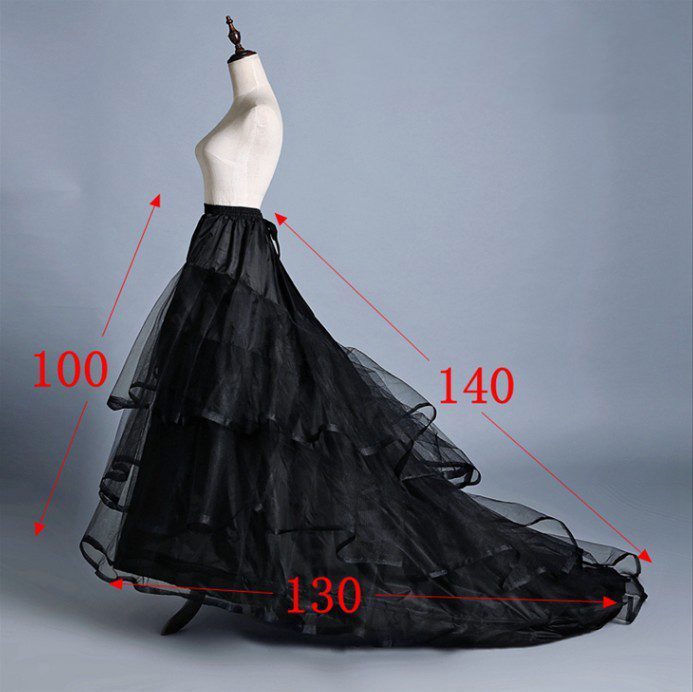 SERMENT Black And White Petticoats Two Steel Trailing Wedding Dress Special Skirt Support Petticoat Hard Yarn Wedding Accessorie