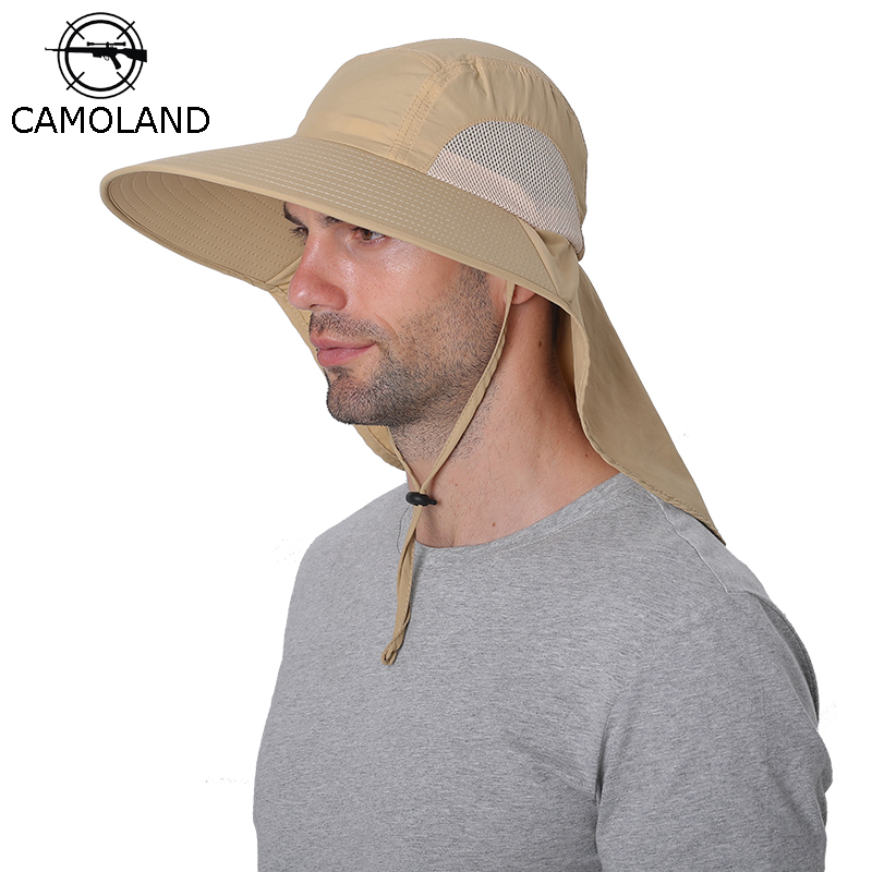 CAMOLAND Waterproof Bucket Hats For Men Women Summer UPF 50+ Sun Hat Long Wide Brim Outdoor Hiking Fishing Caps With Neck Flap