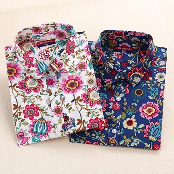 Dioufond Print new Women Long Sleeve Blouse Lipstick Floral Ladies Blouses Cotton Fashion Plus Size 5XL ladies Shirts 2