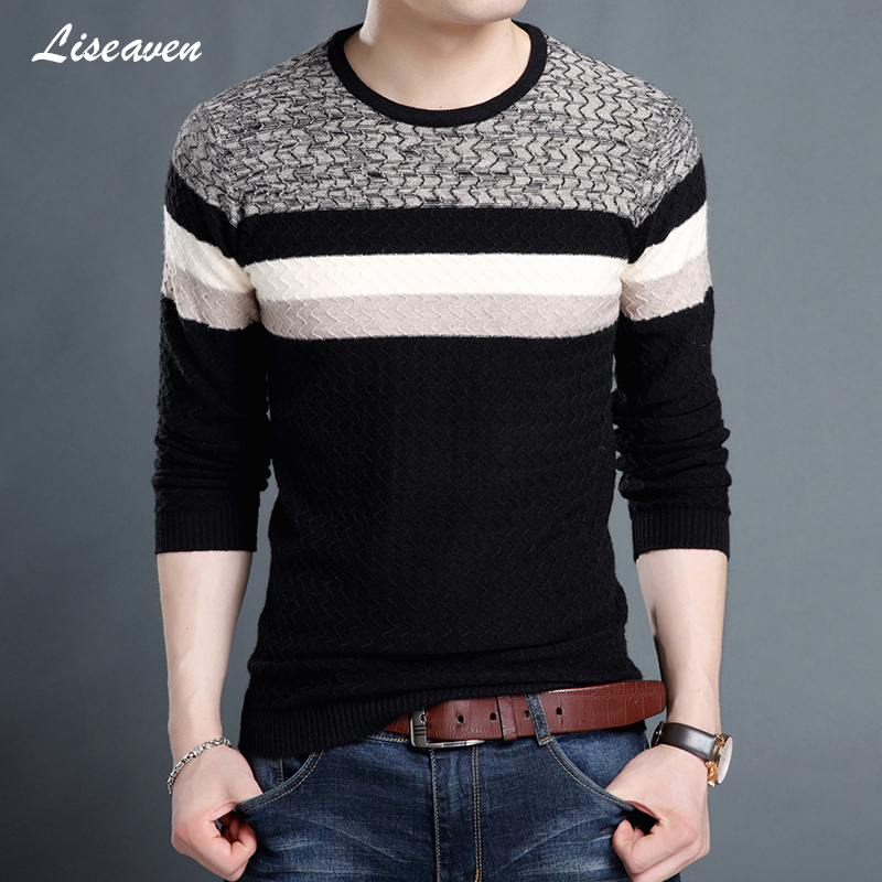 Liseaven Sweaters 2019 Men O-Neck Brand Men's Clothing Slim Fit Pullovers Men Knitwear