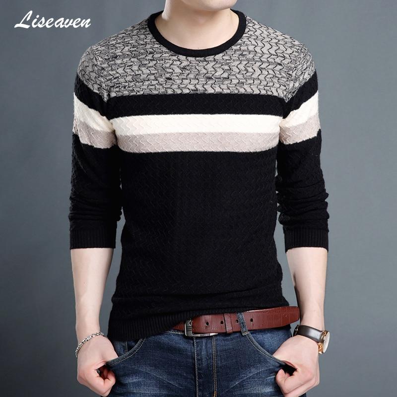 Liseaven Sweaters 2019 Men O-Neck Brand Men's Clothing Slim Fit Pullovers Men Knitwear