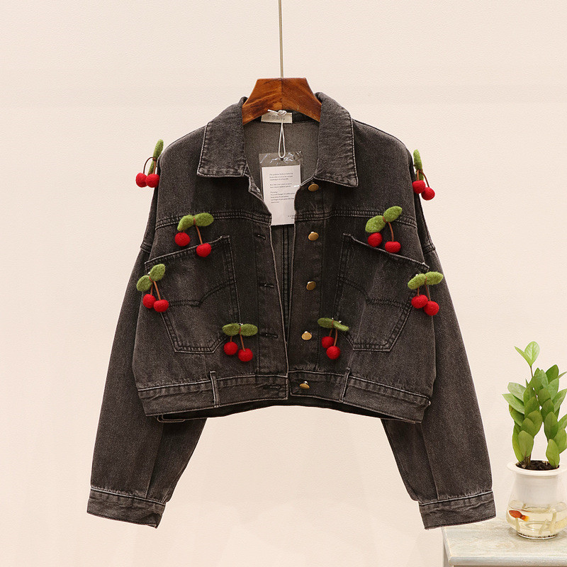 Black Denim Short Jacket Women 2020 Spring New Loose Bat Sleeve Cherry Decoration Jean Top Chic Streetwear Stretch Denim Coat 32 image