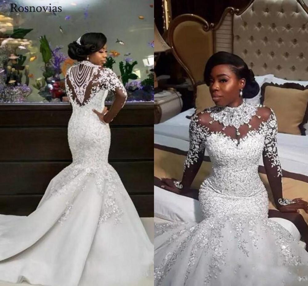 Africa Long Sleeves Mermaid Wedding Dresses 2020 Luxury Illusion Back Court Train Lace Bridal Gowns Vestido De Novia Plus Size