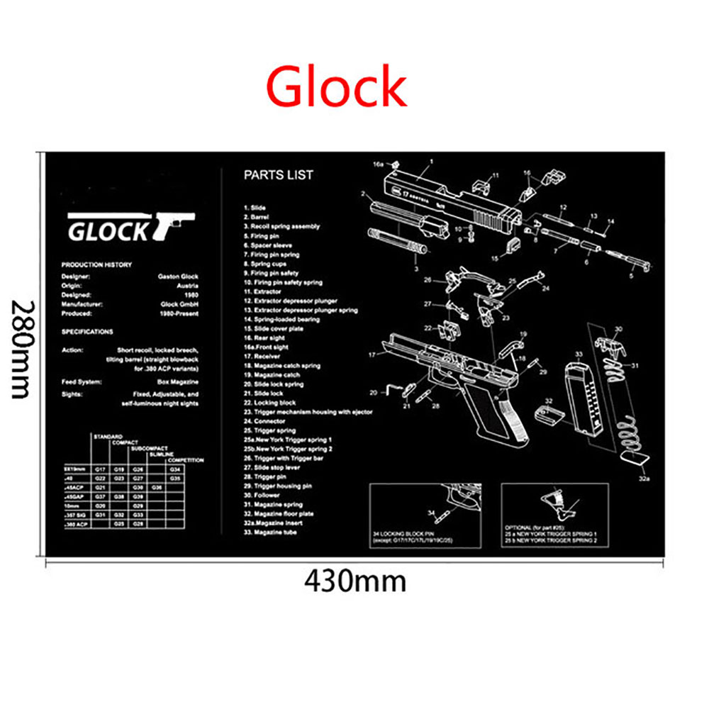 AR15 AK47 Gun Cleaning Rubber Mat With Parts Diagram And Instructions Armorers Bench Mat Mouse Pad For Glock SIG P226 P229