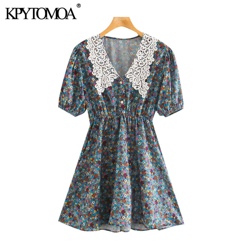 KPYTOMOA Women 2020 Chic Fashion Floral Print Patchwork Mini Dress Vintage Short Sleeve Elastic Waist Female Dresses Vestidos