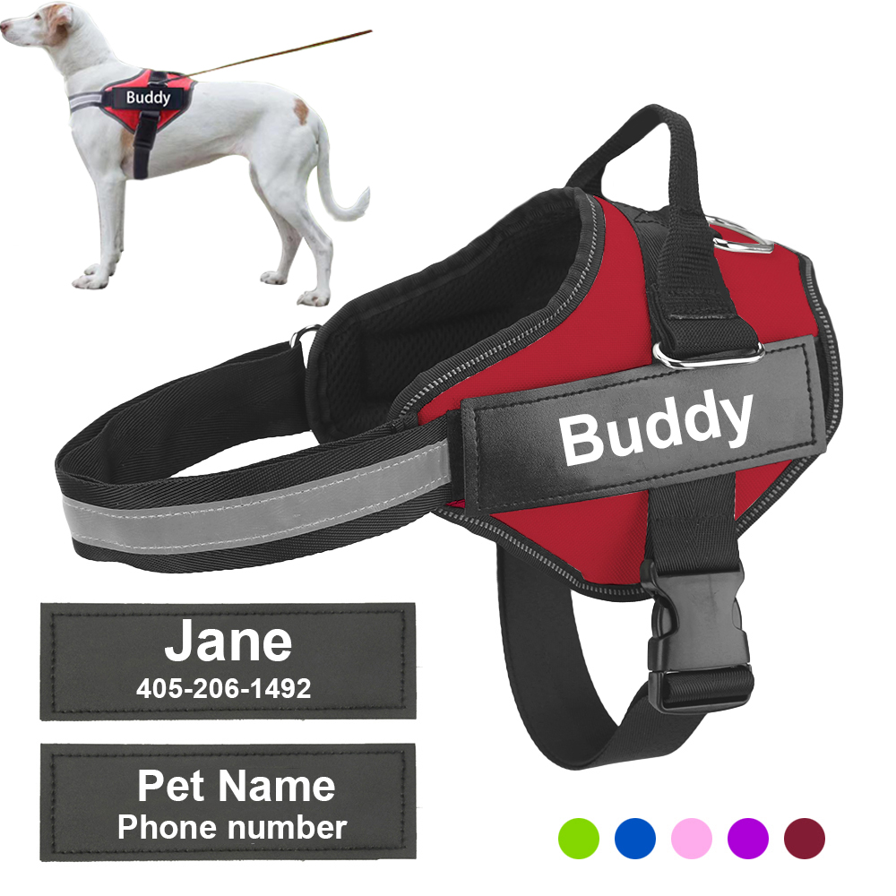 Personalized Dog Harness Reflective Adjustable Pet Harness Vest For small large ID Customized Patch Outdoor Walking Dog Supplies|Harnesses|   - AliExpress