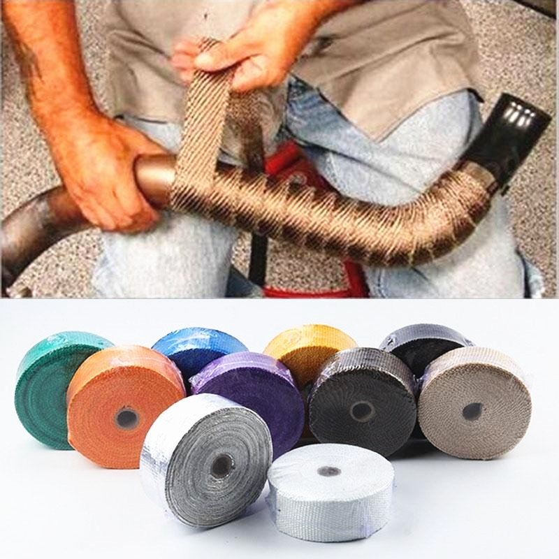 5M Auto Motorfiets Uitlaat Wrap Pijp Header Heat Wrap Turbo Mainfold Anti-Brandwonden Modificatie Warmte Uitlaat Thermische Tape title=