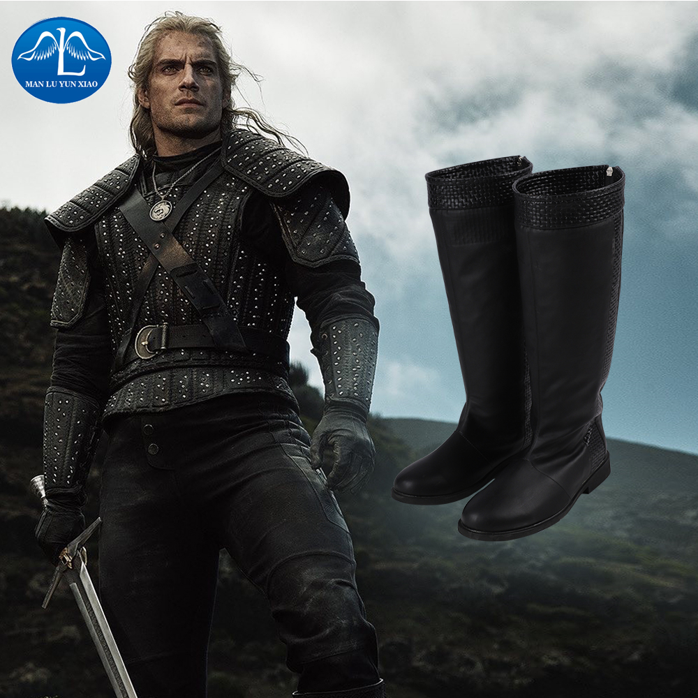 Manluyunxiao Geralt Of Rivia Cosplay High Boots Christmas Halloween Costumes For Men Black Faux Leather Shoes