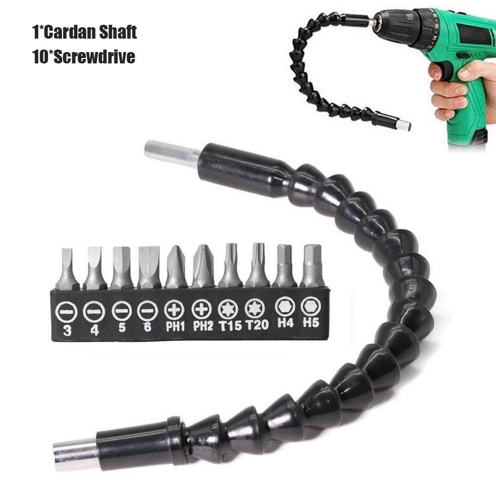 Flexible Hex Screwdriver Extention Bar Drill Driver Shaft Screw Bit Tool Set