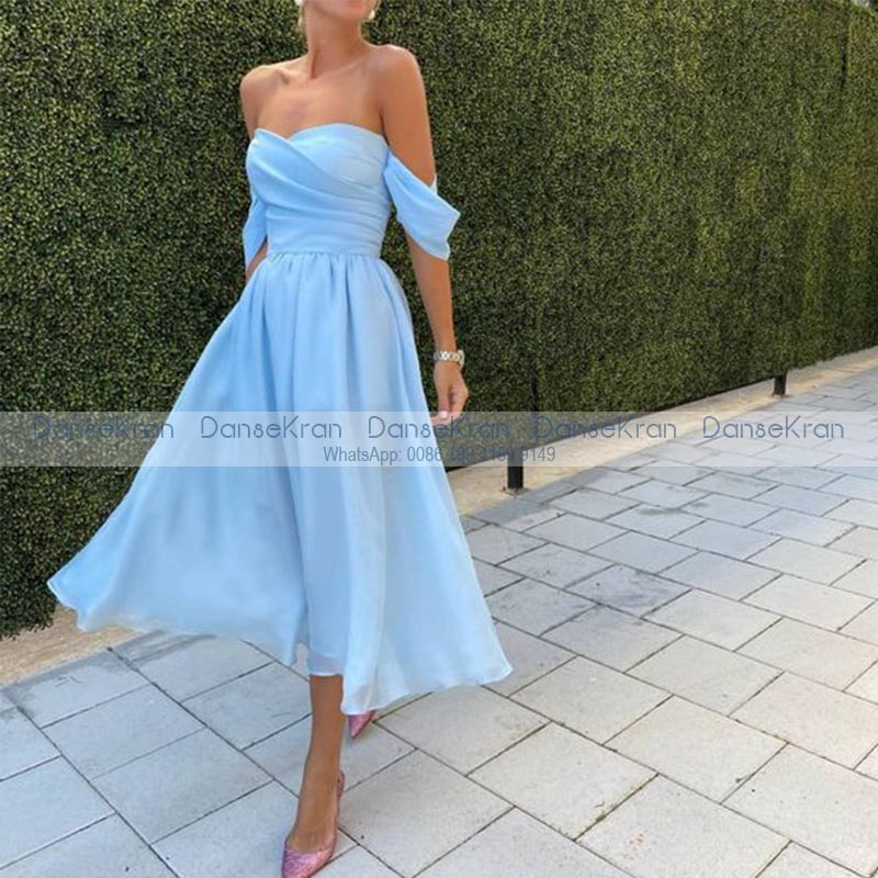 Light Blue Strapless Short Prom Dresses Off The Shoulder Short Dresses For Wedding Party A-line Tea-Length Chiffon Prom Gown