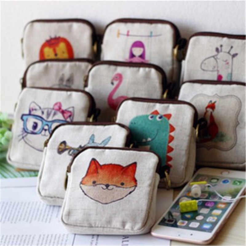 Small zipper pouch Canvas change purse Hand printed coin purse