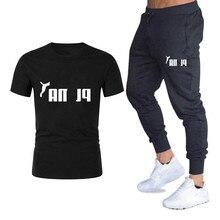 Summer trend Korean men's casual T-shirt set fashion trend printed T-shirt short sleeve / long pants two piece set цена и фото