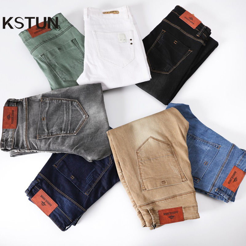 Mens Colored Jeans Stretch Skinny Jeans Men Fashion Casual Slim Fit Denim Trousers Male Green Black Khaki White Pants Male Brand