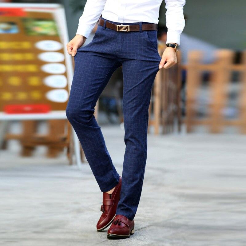 Plaid Pants Men Cotton Slim Fit Check Trousers Elasticity Stretch Classic Dress Pants Suit Business Casual Long Male Pants