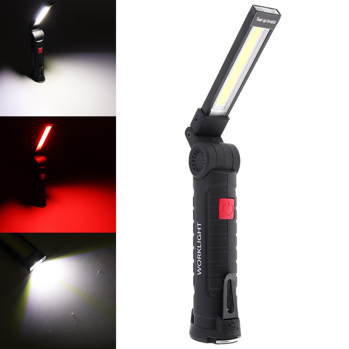 COB USB LED Rechargeable Pen Clip Clamp Hand Torch Work Light Lamp Flashlight