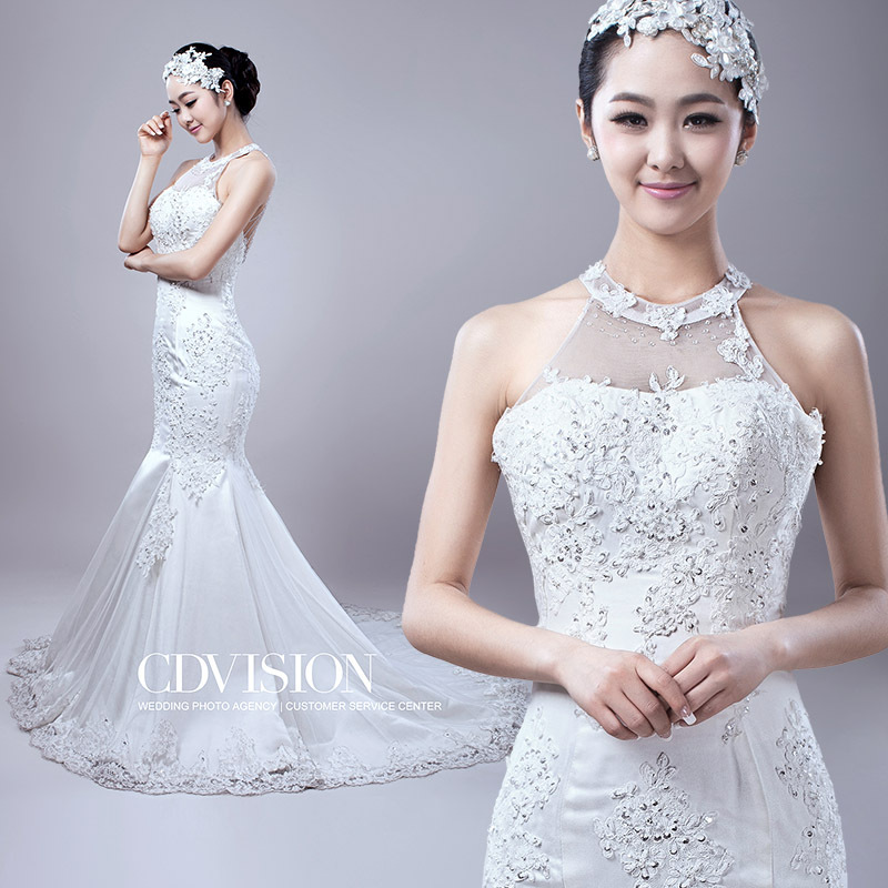 Bridal Gown Highneck New Sexy Vestidos Beading Crystal Shopping Sales Online Mermaid Appliques Lace Wedding Dress 2015