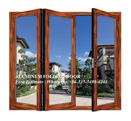 Waterproof Veranda Double Glazing Aluminum Bi Folding Door,Outdoor Dividers Soundproof Fold Door