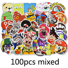 100 pcs/pack New Mixed Funny Stickers For Luggage Laptop Decal Skateboard Moto Bicycle Car Guitar Fridge Kawaii Sticker