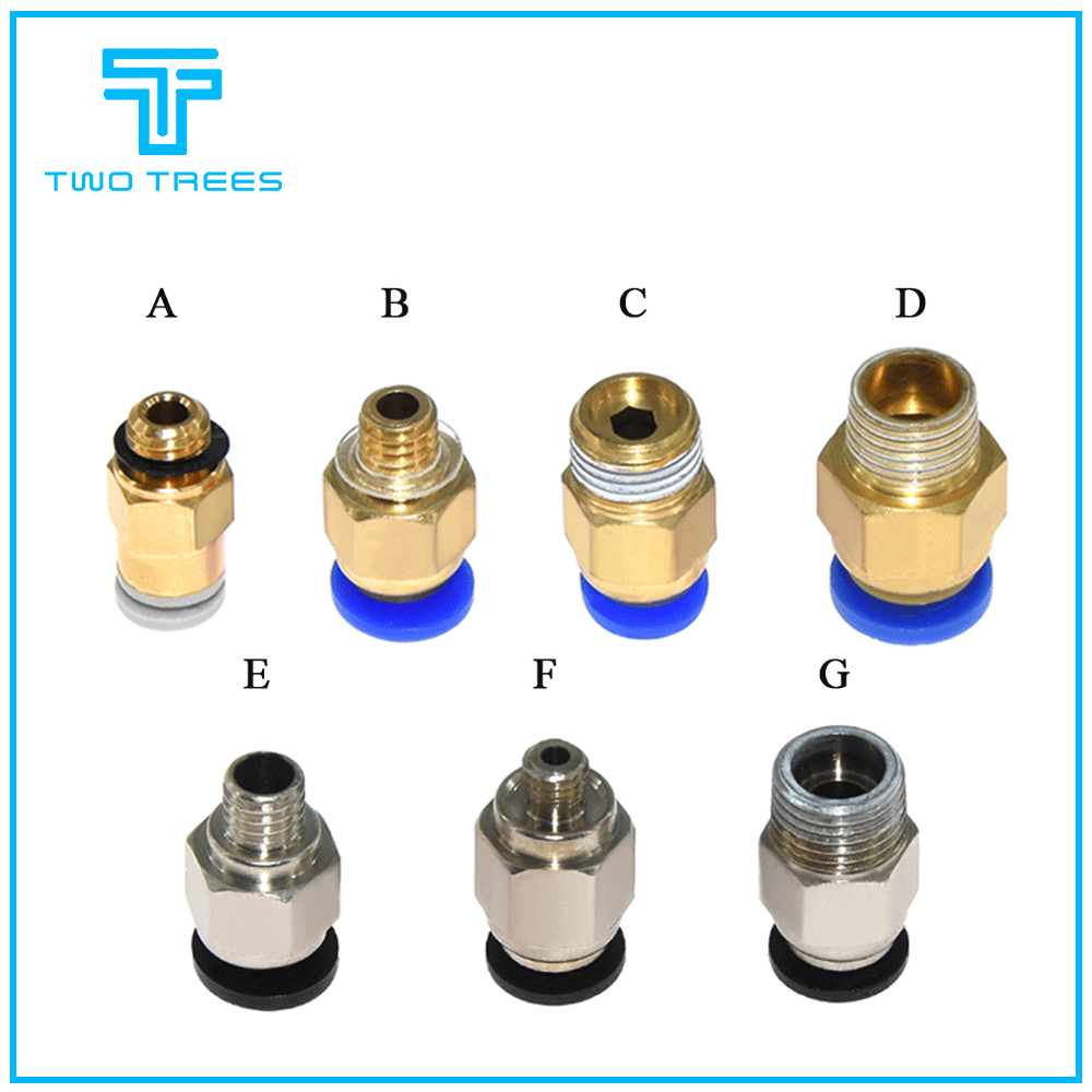 PC4-M6 Pneumatic Straight Connector Brass Part For MK8 OD <font><b>4mm</b></font> 2mm <font><b>Tube</b></font> Filament M6 Feed <font><b>Fitting</b></font> Coupler for 3D Printers Parts image