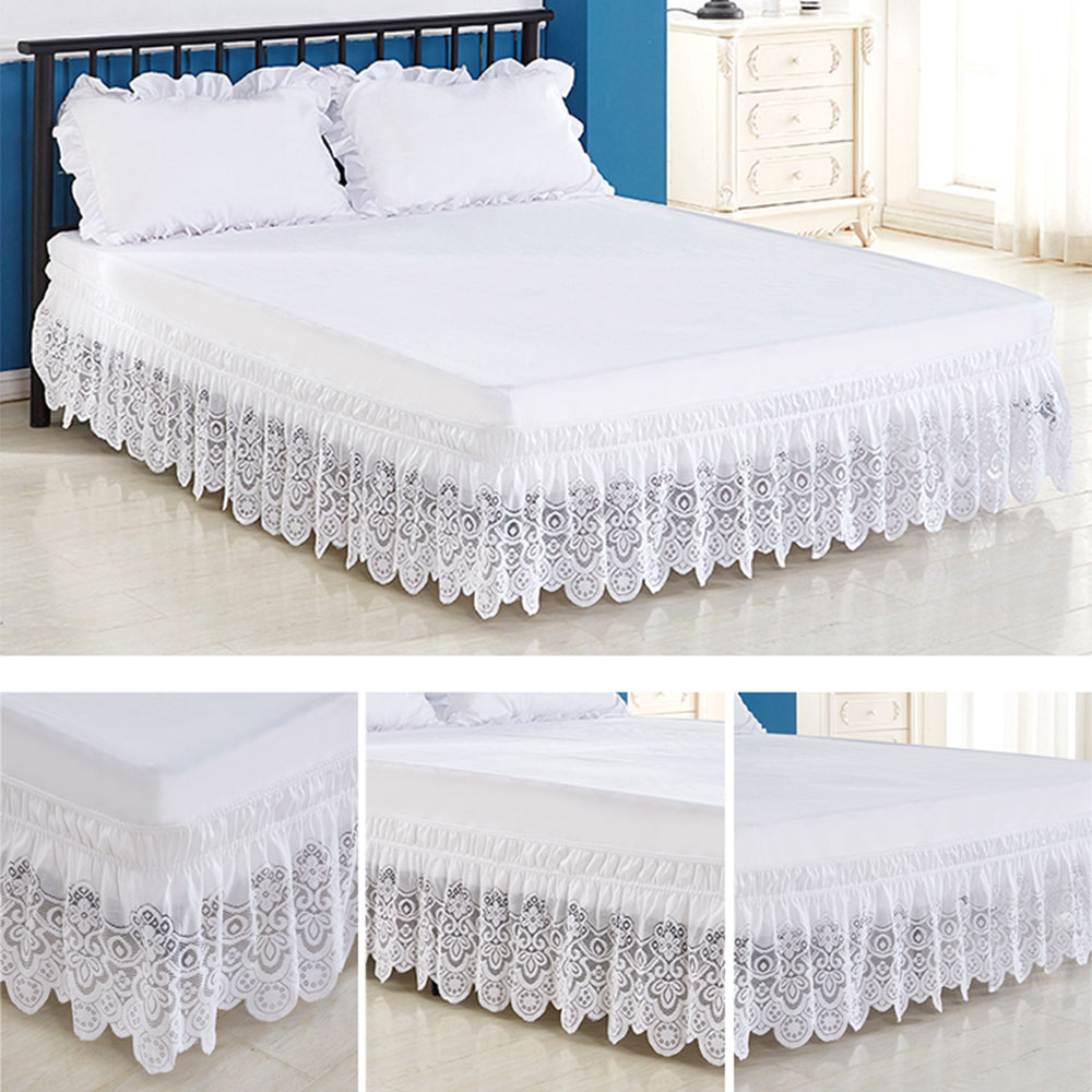 New 4 Sizes Of White Lace Trimmed Elastic Bed Skirt Wrinkle Free Dust Ruffle For Twin Queen King Simple And Sweet Bedding