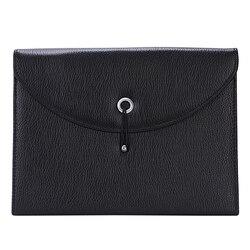 Расширяемый портативный портфель из искусственной кожи, деловая сумка-Органайзер для файлов формата А4 и букв, размер 13 карманов (черный)