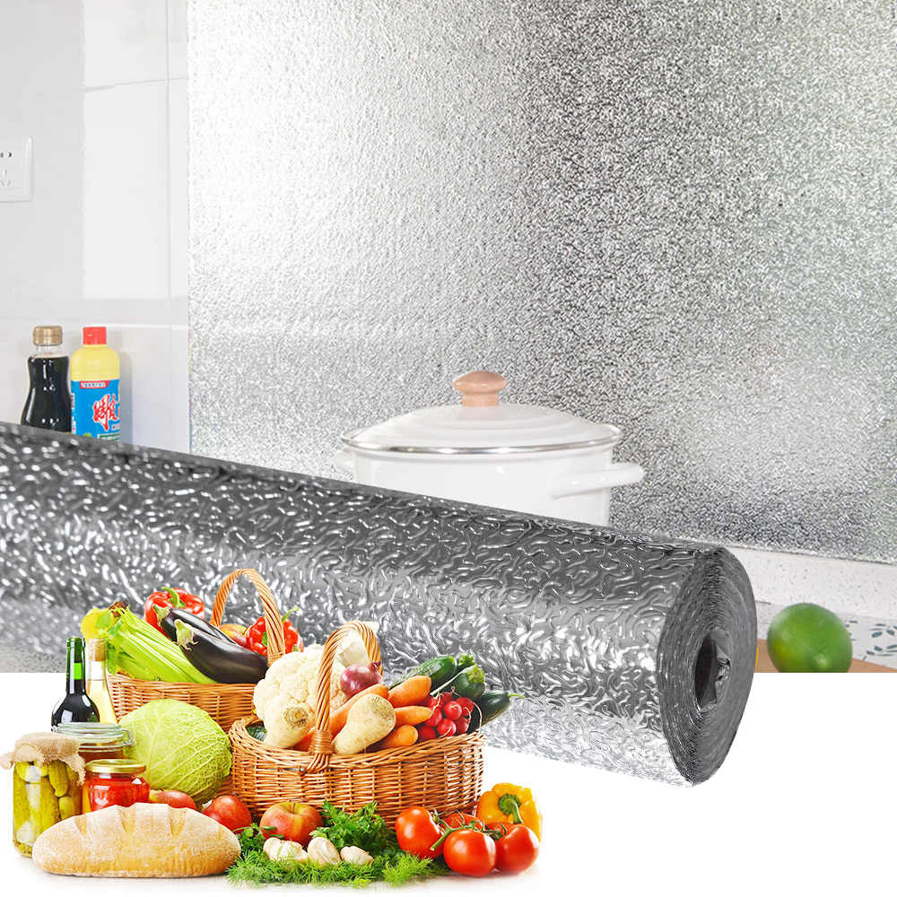 DKtie מטבח שמן הוכחה מדבקות אלומיניום רדיד קיר מדבקות תנור ארונות עמיד למים רב פונקציה DIY טפט קישוט