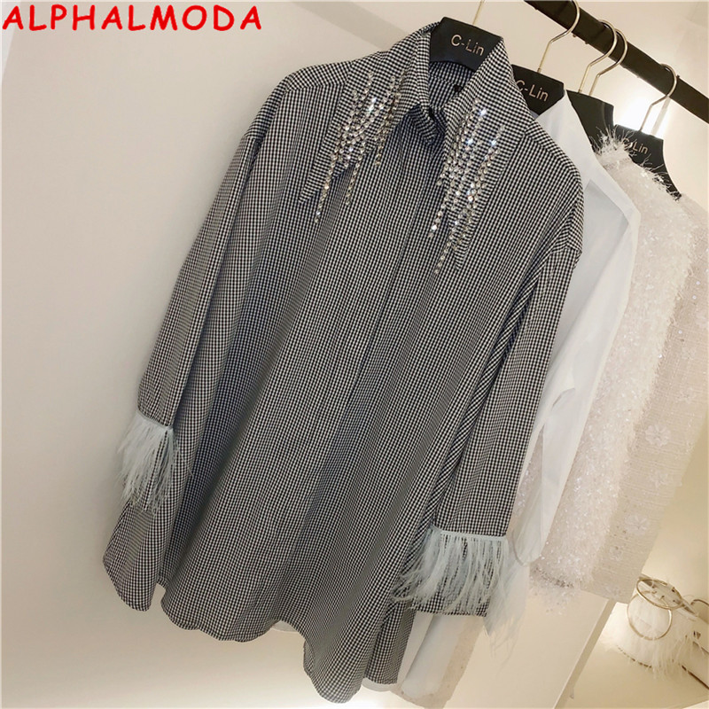 ALPHALMODA 2020 Spring New Loose Plaids Shirt Crystal Chain Collar Feather Sleeve Women Chic Fashion Spring Shirts Blouse