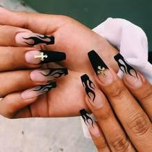 24 Uds las uñas con pegamento de largo desmontable francés palillo en uñas ataúd llama Prensa en uñas arte DIY herramienta de la manicura