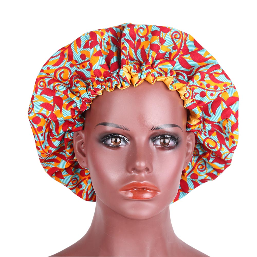 Large African Print Bonnet Women Ankara Fabric Satin Lined Sleep Cap Fashion Turban