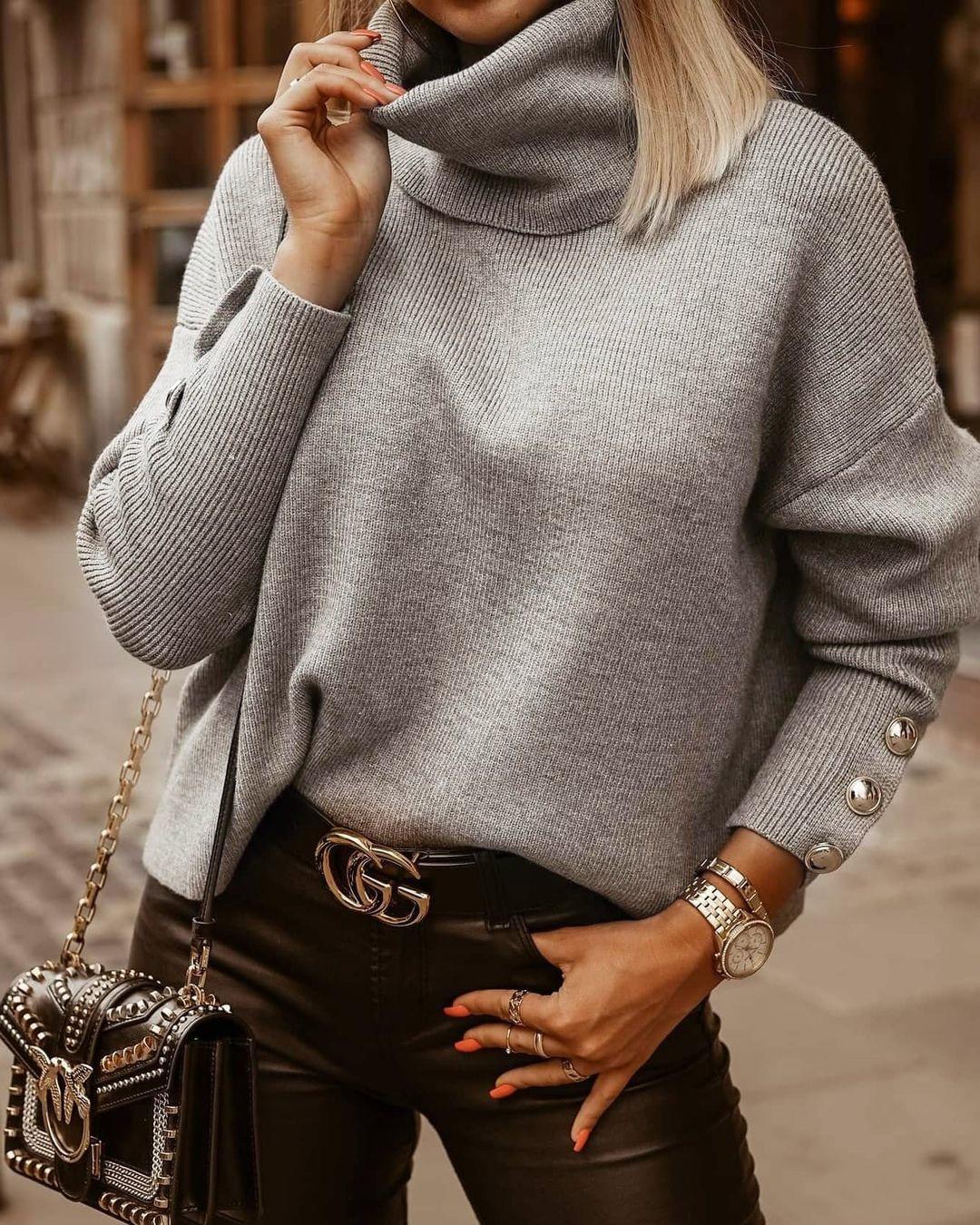 Pull tricoté Vintage à col roulé pour femmes