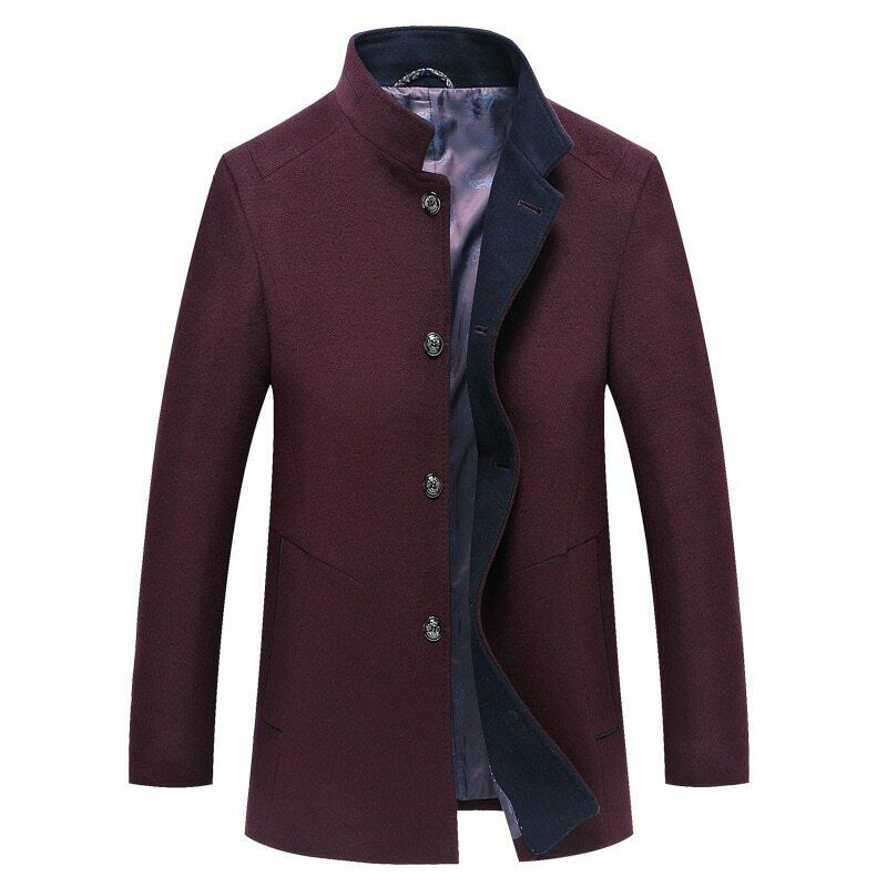 Men Fashion Design Mens Slim Cashmere Wool Blends Trench Jacket Winter Coat Solid Color Fashion Stand Collar Leisure Trend