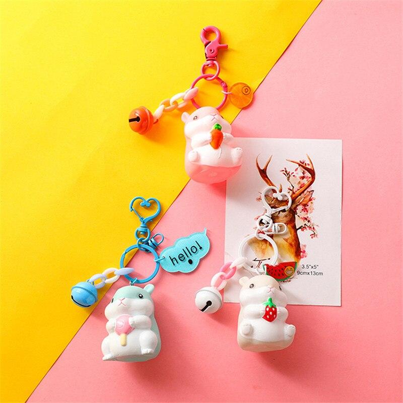Dibujos Animados PVC llaveros de hámster ardilla Linda llavero silicona para llaves abalorio colgante para bolso campanilla y llavero joyería chico juguetes fiesta