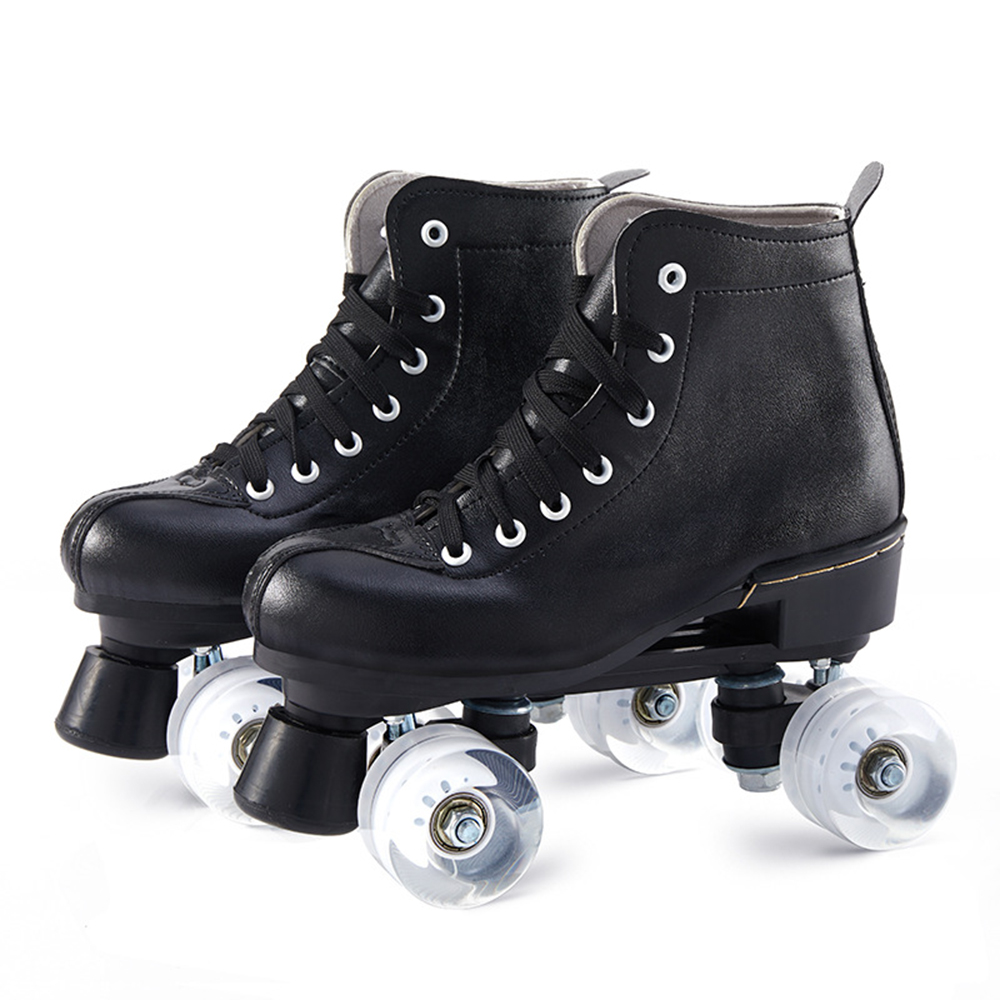 Black Pu Leather Roller Skates Anti-Skidding Roller Wheel Skate Shoes Quad 4 Wheels Skate Shoes Patines De 4 Ruedas Patines