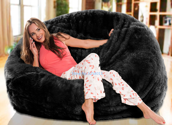 LUXURY SHAGGY FUR BEAN BAG Cover Chair Large New Bean Bag -Great Xmas Gift!!!! Short Warm Fur Beanbag Lounger