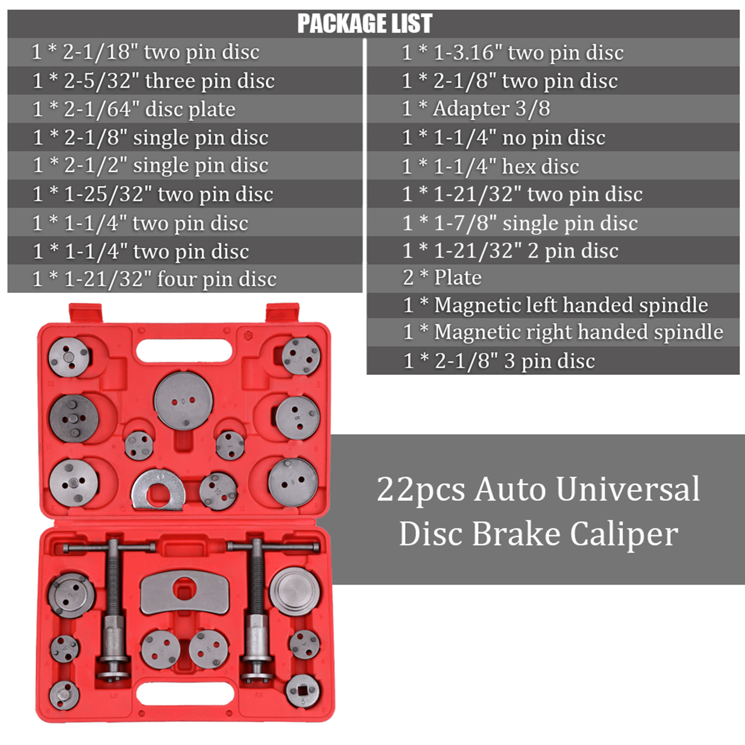 Universal 22pcs Automobile Garage Repair Tool Kit Auto Disc Brake Caliper Car Wind Back Pad Piston Compressor Set with Case