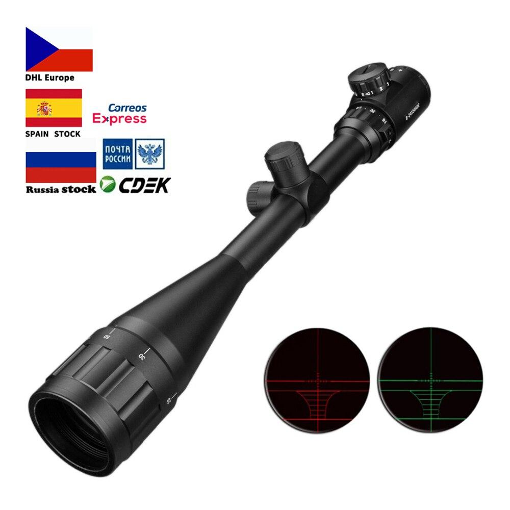 6-24x50 Aoe Riflescope ปรับสีเขียวสีแดง Dot ล่าสัตว์ขอบเขตยุทธวิธี Reticle ปืนไรเฟิลขอบเขต
