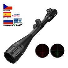 6-24×50 Aoe Riflescope Ajustável Ponto Vermelho Verde Luz Caça Tático Âmbito Retículo Rifle Scope Optical