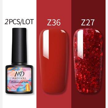2 Bottles 8ml MAD DOLL UV Gel Nail Polish  Colorful And Glistening Bling Sequins Long Lasting Soak Off Nail Art Gel Polish