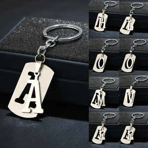 NEW DIY A-Z Letters key Chain For Men Metal Keychain Women Car Key Ring Simple Letter Name Key Holder Party Gift Jewelry(China)