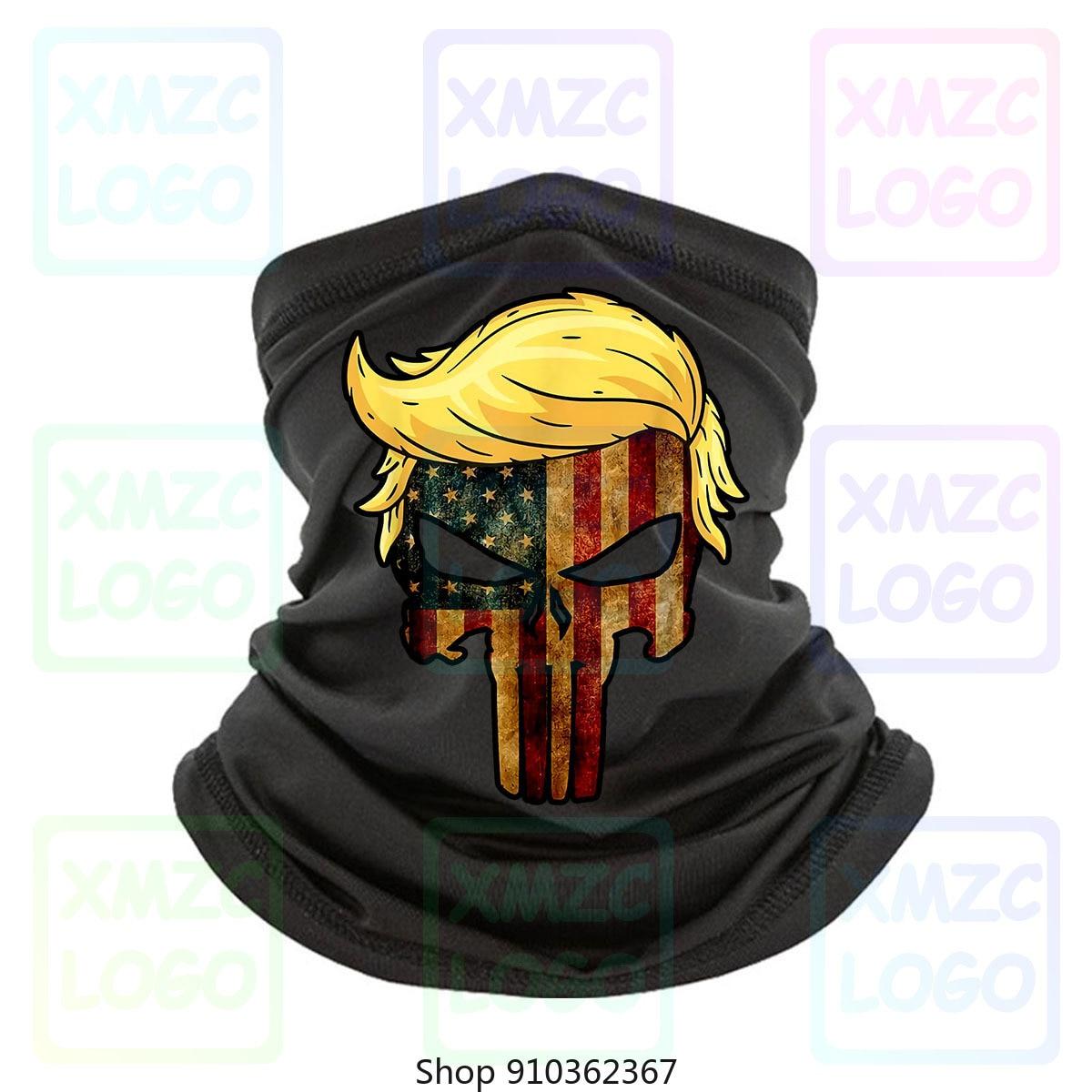 Preto crânio com icônico trump cabelo presidente bandeira américa bandana 100 algodão bandana lenço pescoço mais quente feminino