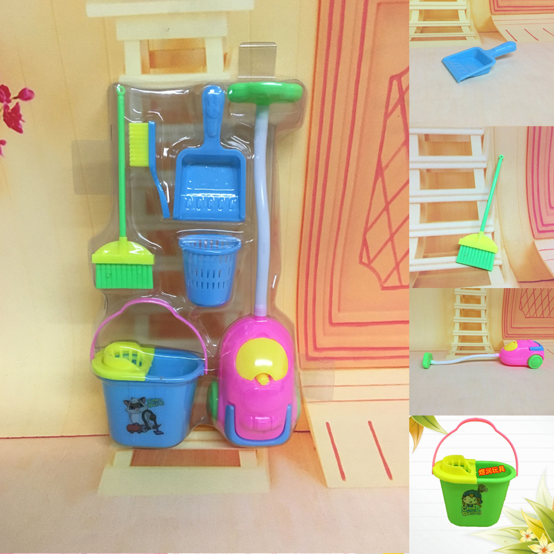6Pcs Home Furniture Furnishing Cleaning Cleaner Kit For Kids House Set Furniture Toys Funny Vacuum Cleaner Mop Broom Set