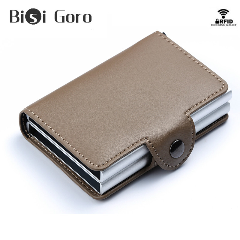 Two Aluminum PU Leather Business Credit Card Name Id Card Holder Case Wallet Box
