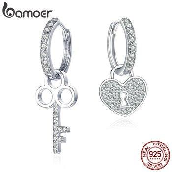 BAMOER Classic 100% 925 Sterling Silver Love Heart Shape Key Lock Drop Earrings for Women Wedding Engagement Jewelry SCE577 - discount item  30% OFF Fine Jewelry