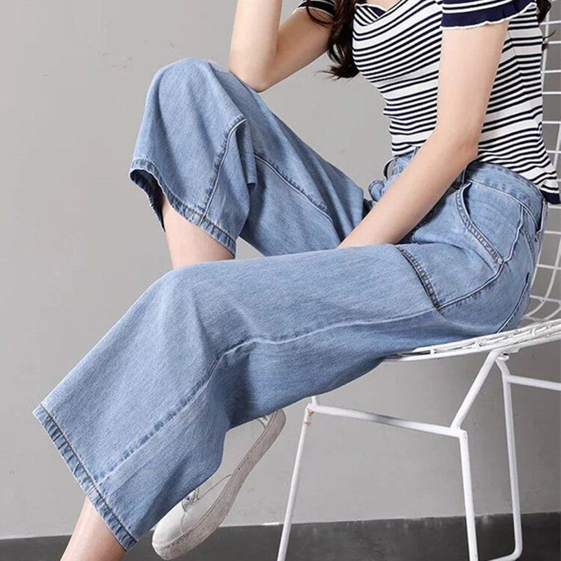 Fashion Summer Women High Waist Jeans Knee Length Wide Leg Jeans For Women Denim Stretch Casual Pants